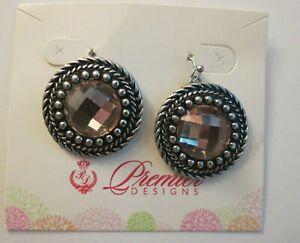 "Pink Premier Design Earrings Cushion Cut Antiqued Round Silver Tone Pierced 2.5"""