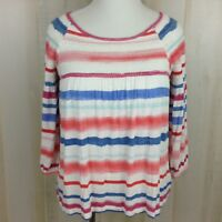 Anthropologie Meadow Rue Boho Peasant Top Striped Smocked Watercolor  Knit Sz. S