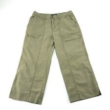 Eddie Bauer Womens Green Khaki Flat Front Crop Capri Cargo Pants 10