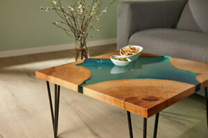 Natural Green Epoxy Resin River Table Top Handmade Wooden Room Decorative