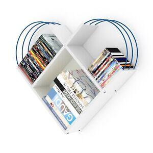 Shelf, Decorative Shelf, Bookshelf, 3 Section, Wall Hanging Shelf, White/Blue