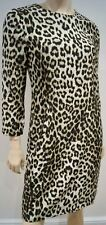 RAG & BONE Cream Brown 100% Silk Animal Print Round Neck Lined Dress US6 UK10