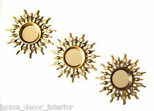 Set Of3 Gold Round Wall Hanging Mirrors 25cm Sunburst Bedroom Living Hallway New