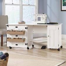 Sewing Machine Table Cabinet Craft Storage Desk Dresser Drop Leaf Bins White NEW