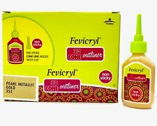 Fevicryl Non Sticky 3D Cone Outliner - 10 Bottle Pack 20ml - Pearl Metallic Gold