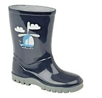 Boys Navy Blue Helicopter Wellingtons Childrens Kids Infant Wellies Size UK 3-12