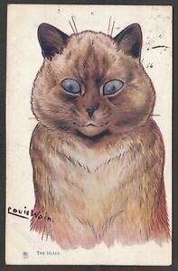 Postcard Louis Wain artist drawn Cat titled The Bully posted 1906 Raphael Tuck