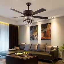 """52"""" Crystal Ceiling Fan Light w/ Remote Reversible Fandelier Chandelier Lights R"""