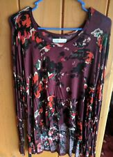 Abercrombie And Fitch WOMEN BURGUNDY SHEER FLORAL L/S TOP (L)