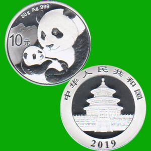 "China 10 Yuan Silbermünze ""Panda"" 2019 30g Silber"