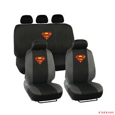 New 9pc Set Superman Classic Shield Logo Front Rear Back Car Full Seat Covers