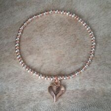 Silver and Rose Gold Ball Beaded Heart Charm Surfer Stretch Bracelet