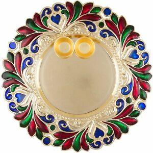 New Puja Pooja Worship Thali Plate Rakhi Platter Tilak Thali With Two Katoris
