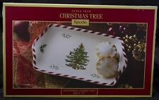 "SPODE CHRISTMAS TREE PEPPERMINT 12"" DESSERT TRAY MINCE PIES YULE LOG FRUIT CAKE"