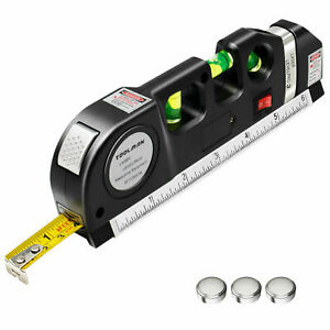 8FT Multipurpose Laser Level Vertical Horizon Measure Tape Aligner Metric Ruler