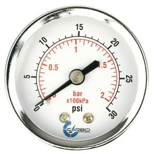 "2"" Pressure Gauge - Chrome Plated Steel Case, 1/4""NPT, Back Mnt. 30 PSI"