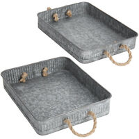 MyGift Rustic Galvanized Metal Nesting Serving Trays with Rope Handles, Set of 2