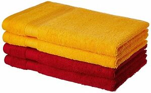 Bath Towel Set 100% Cotton ,500 GSM Spanish Red and Sunshine Yellow