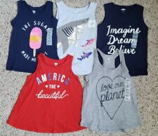 NWT Old Navy Girls lot of 5 Fun Graphics Tank Tops Sleeveless Blue Gray Red 5T