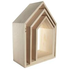 Set of 3 Pine Wooden House Shaped Shelves Without Back Panel |Plain To Decorate