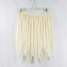 Women's Tulle Knee Length Elastic Skirt Party Costume Ivory White S/M