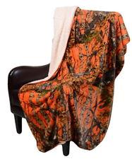 Throw Blanket ORANGE CAMO WOODS Camouflage Sherpa Ultra Plush Oversized 50 x 70