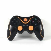 Used P3 PS3 Wireless Controller, Black/Orange Sony PlayStation 3 Compatible