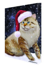Let it Snow Christmas Holiday American Bobtail Dog Santa Hat Canvas Wall Art