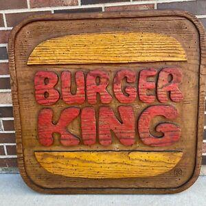 """Burger King Restaurant Sign Dining Room Decor Wood Foam 32"""" x 32"""" Vintage"""