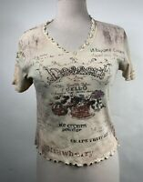 Cactus Womens Size S Graphic Top Dessert Themed Tee Top Rhinestones