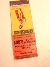 Early match book cover w/ semi-nude woman:  Bob's Food Market, York PA