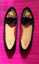 Womens Vtg.Rare Ralph Lauren brn.velvet shoe/gold-embroidered Fox/Horn sz 8AA