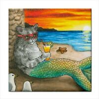 Large Ceramic Tile, 6x6, Cat Mermaid 25 ocean sea art painting by L.Dumas