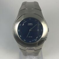 Vintage Timex Indiglo Mens Blue Dial Date Indicator Stainless Steel Wristwatch
