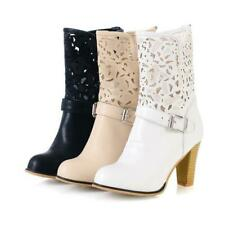 Women Ladies Block Heel Ankle Boots Casual Round Toe Pull On Dress Shoes 34/43 D