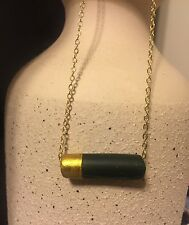 Unique Emerald Green Clay Horizontal Tube Bar Gold Plated Chain Minimal Necklace