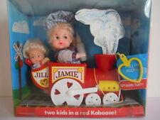 DRINK & WET BABY LOVEE DOLL JAMIE & JILL 2 KIDS IN A RED KABOOSE TRAIN HONG KONG