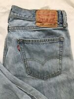 Levis 505 Jeans Mens Size 33x30 Straight Leg Regular Fit Light Wash Blue Denim