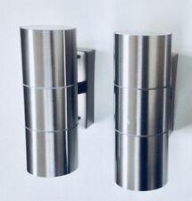 Pair Stainless Steel Outdoor Indoor up & Down Wall Lamps Lights Ip44 Waterproof