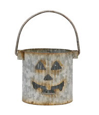 Tin Jack O Lantern Votive, Tealight Candle Holder With Handle, Halloween