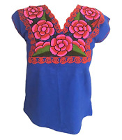 Floral Mexican Blouse - Embroidered - Authentic - Handmade - Cotton - Blue