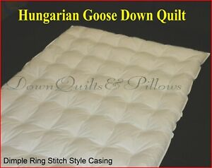SUPER KING SIZE QUILT -DIMPLE RING STITCHED - 95% HUNGARIAN GOOSE DOWN- 2 BLKS