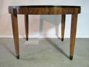 """Spectacular Vtg. Mastercraft Art Deco Style Dining Table; Patterned Veneers 86"""""""
