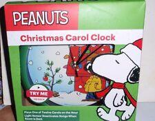 PEANUTS CHRISTMAS CAROL CLOCK PLAYS ONE OF TWELVE CAROLS ~ CHARLIE BROWN TREE
