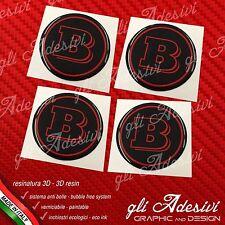 4 Adesivi Resinati Sticker 3D BRABUS Smart 50 mm Nero e Rosso GEL cerchi