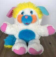 "Vintage 80s Mattel Popples Puffball Popple Plush Toy White Yellow Blue 12"""