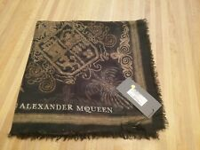 Alexander McQueen Scarf Authentic New with Tags Military Bullion Gold Black Silk
