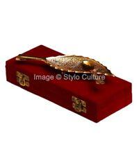 Leaf Shape Deep Brass Golden Engraved Ethnic Sculpture Indian Home Decor 2Ps
