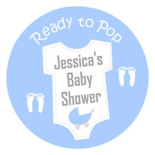 24 x Personalised Baby Shower Gloss Stickers READY TO POP Baby Grow & Pram Blue