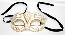 Venetian Mask from Venice White with Gold and Silver with Ribbon Ties
